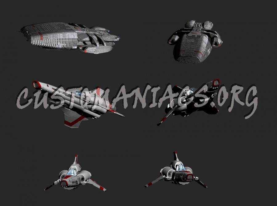 Battlestar Galactica (New Version) Rendered Ships & Cylons