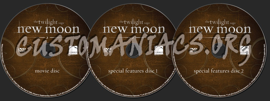 The Twilight Saga New Moon dvd label