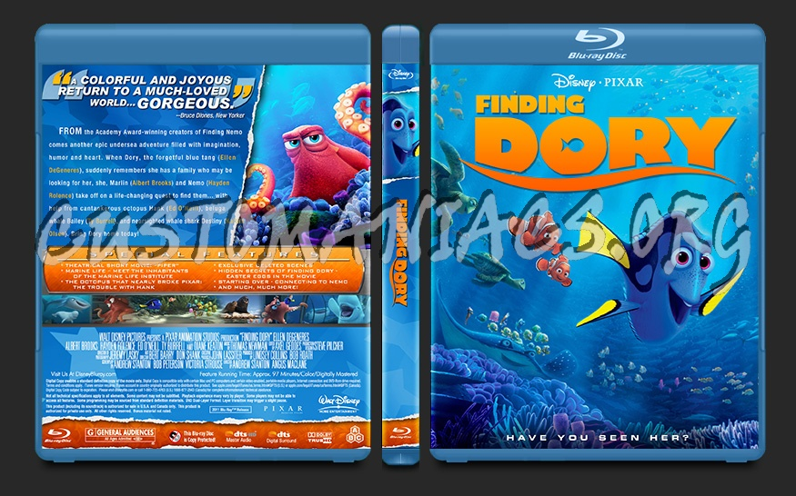 Finding Dory blu-ray cover
