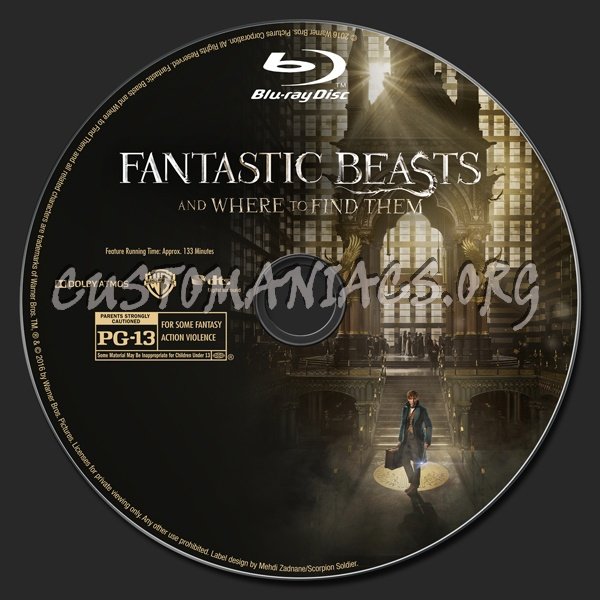Fantastic Beasts and Where to Find Them (2D/3D/4K) blu-ray label
