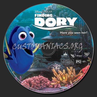 Finding Dory dvd label
