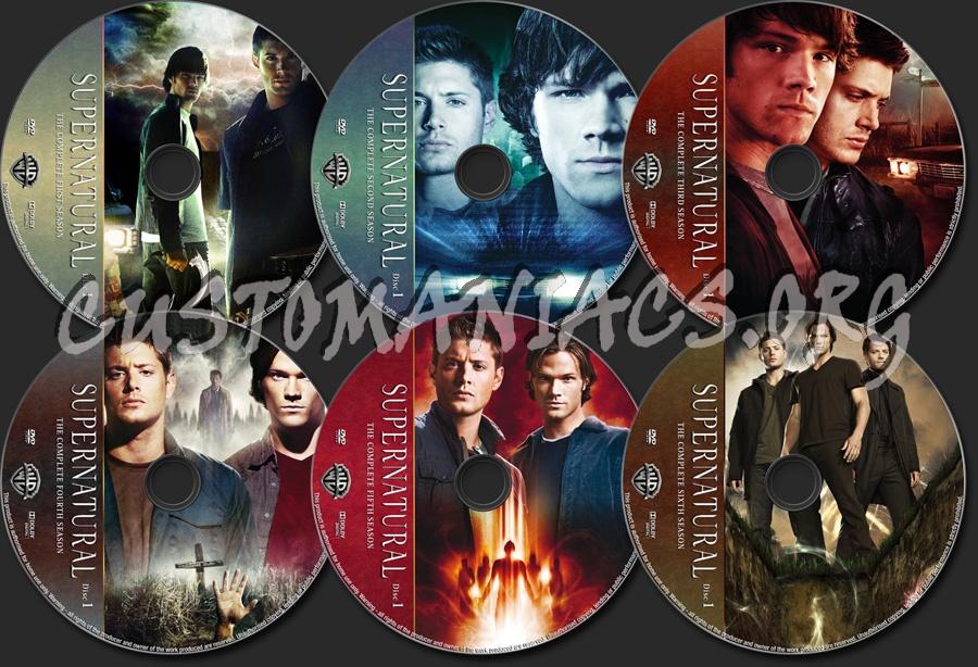 Supernatural Seasons 1-6 dvd label