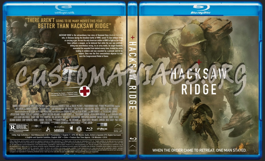 Hacksaw Ridge blu-ray cover