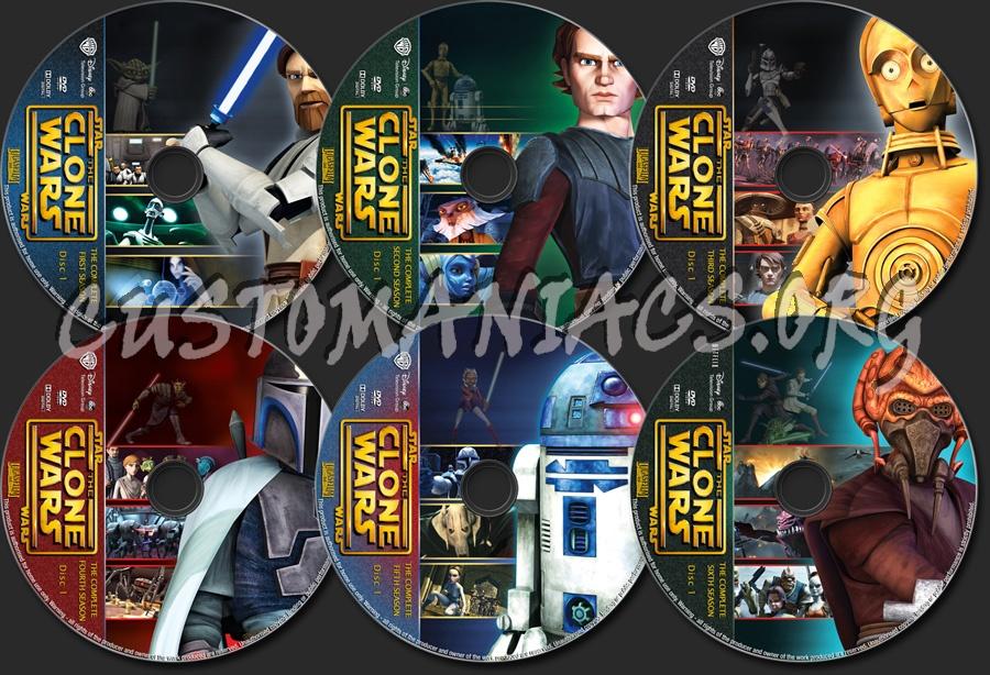 Star Wars The Clone Wars Seasons 1-6 dvd label
