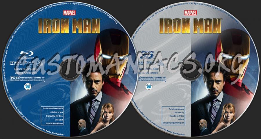 Iron Man (2D + 3D) blu-ray label