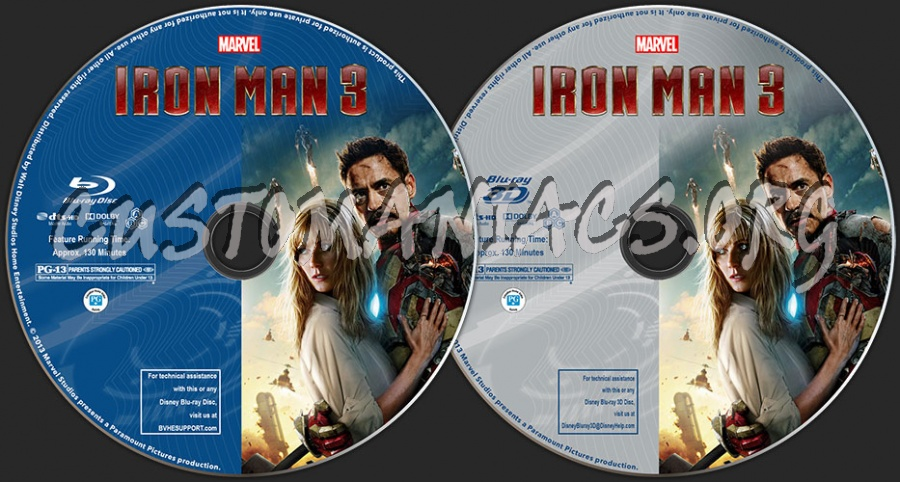 Iron Man 3 (2D + 3D) blu-ray label