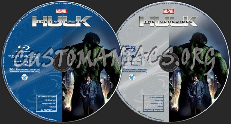 The Incredible Hulk (2D + 3D) blu-ray label