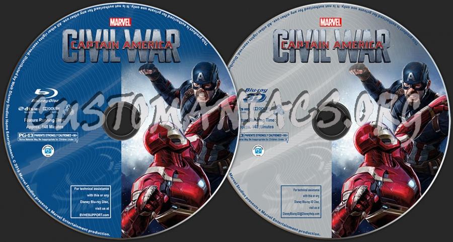 Captain America: Civil War (2D + 3D) blu-ray label