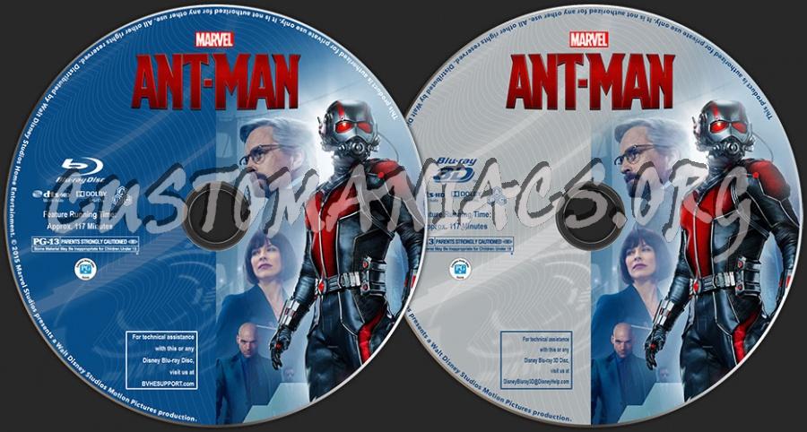 Ant-Man (2D + 3D) blu-ray label