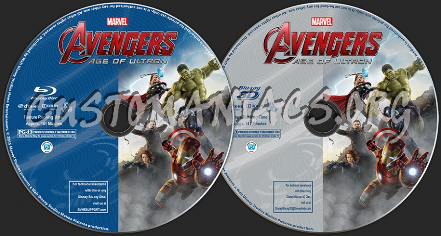 Avengers: Age of Ultron (2D + 3D) blu-ray label
