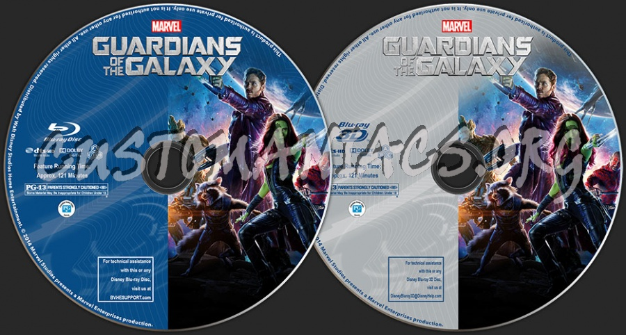 Guardians of the Galaxy (2D + 3D) blu-ray label