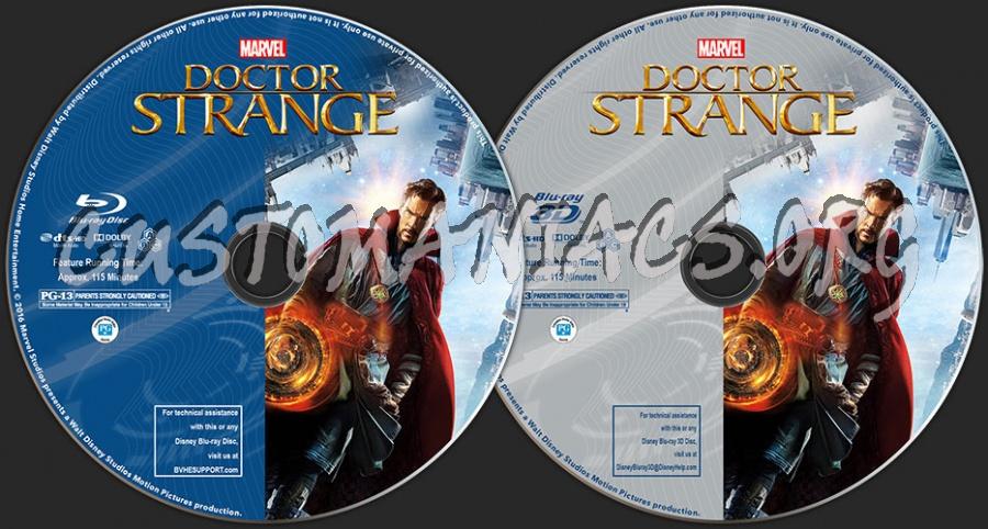 Doctor Strange (2D + 3D) blu-ray label