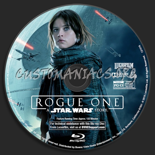 Rogue One: A Star Wars Story (Blu-Ray + 3D) blu-ray label