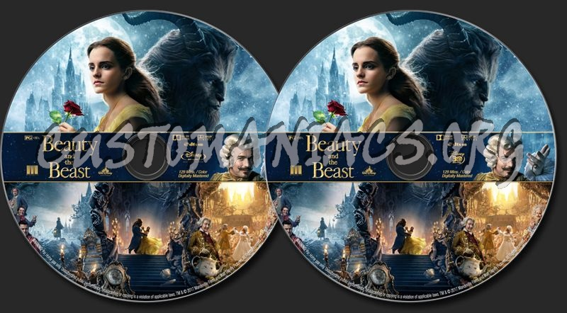 Beauty And The Beast (2017) (Blu-Ray + 3D) blu-ray label