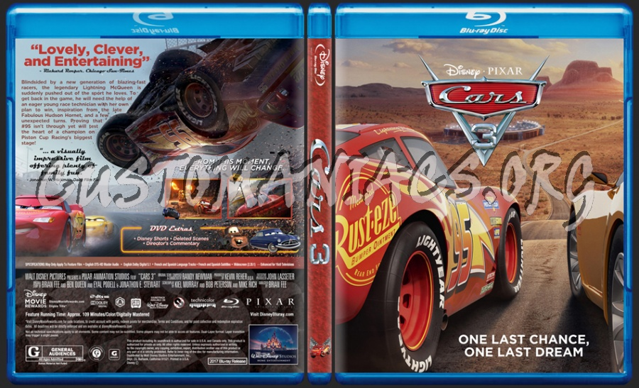 Cars 3 blu-ray cover