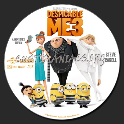 Despicable Me 3 blu-ray label