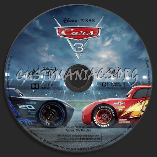 Cars 3 dvd label