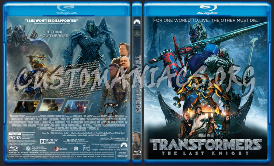 Transformers: The Last Knight blu-ray cover