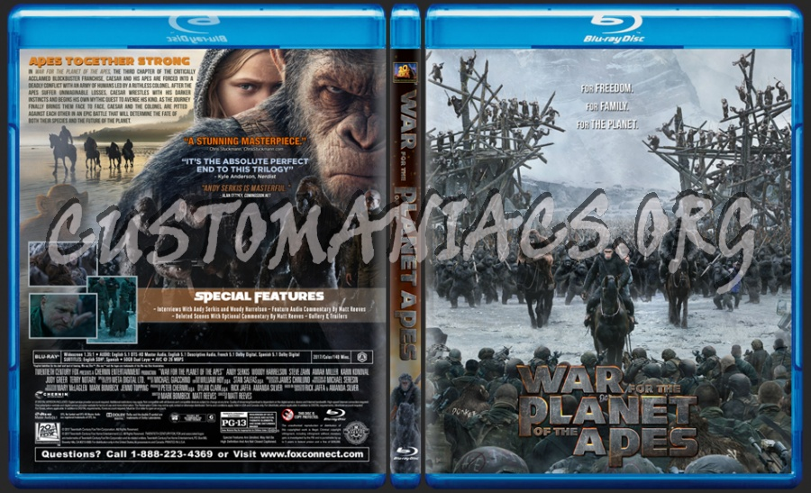 War For The Planet Of The Apes blu-ray cover