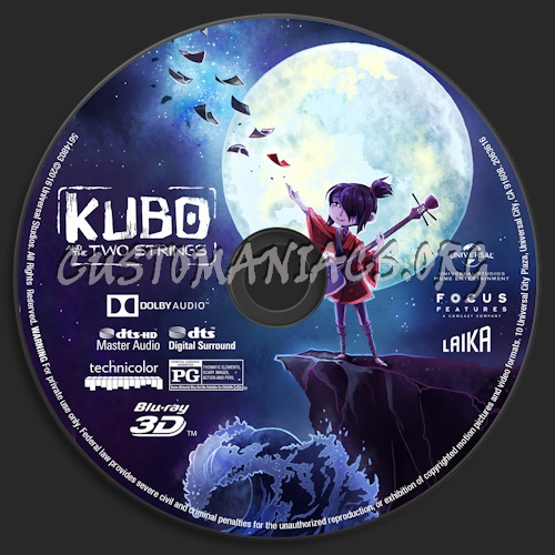 Kubo And The Two Strings (Blu-ray + 3D) blu-ray label