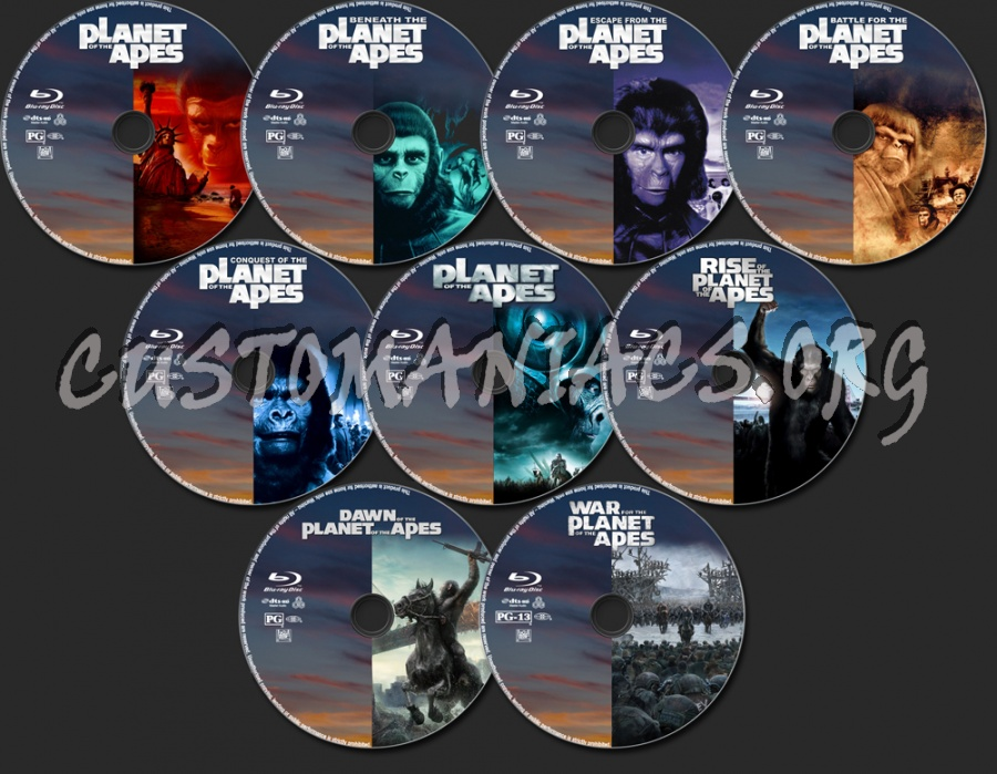 Planet of the Apes Evolution Collection blu-ray label