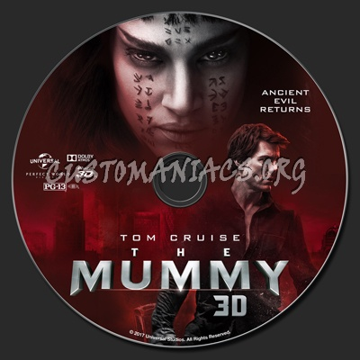 The Mummy (2017) 2D/3D blu-ray label