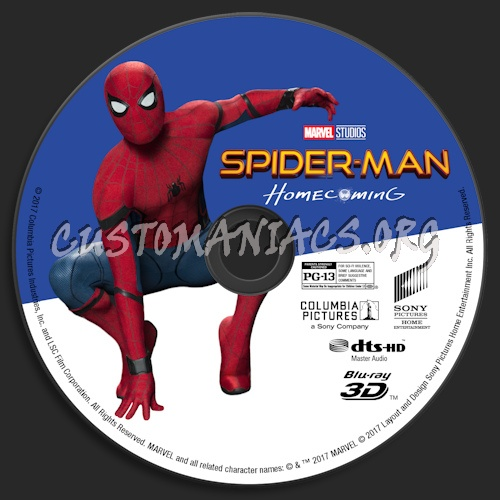 Spider-Man: Homecoming (Blu-ray + 3D) blu-ray label