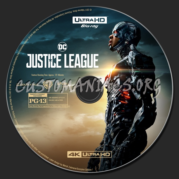 Justice League (2D/3D/4K) blu-ray label