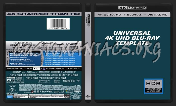 Universal 4k Uhd Blu Ray Template Dvd Label