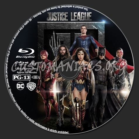Justice League blu-ray label