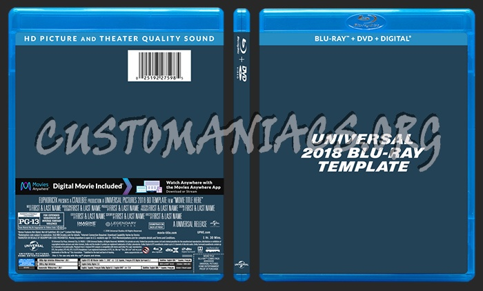 Universal Studios (2018) Blu-ray Template dvd label