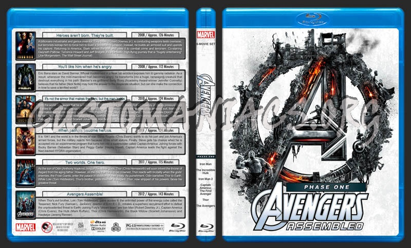 Avengers Assembled - Phase One blu-ray cover
