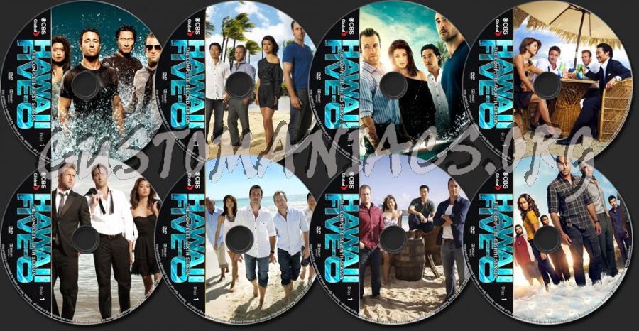 Hawaii Five-O Seasons 1-8 dvd label