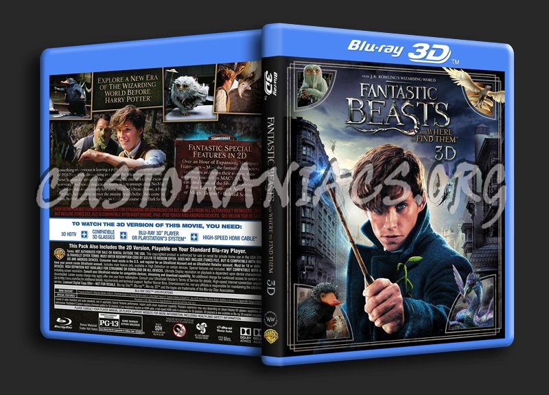 Fantastic Beasts and Where To Find Them 3D blu-ray cover