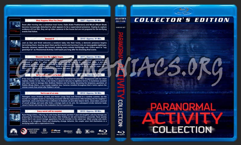 Paranormal Activity Collection (6) blu-ray cover