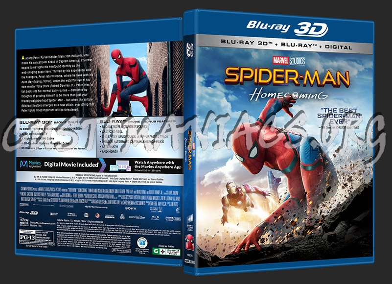 Spider-Man: Homecoming (2D/3D/4K) blu-ray cover