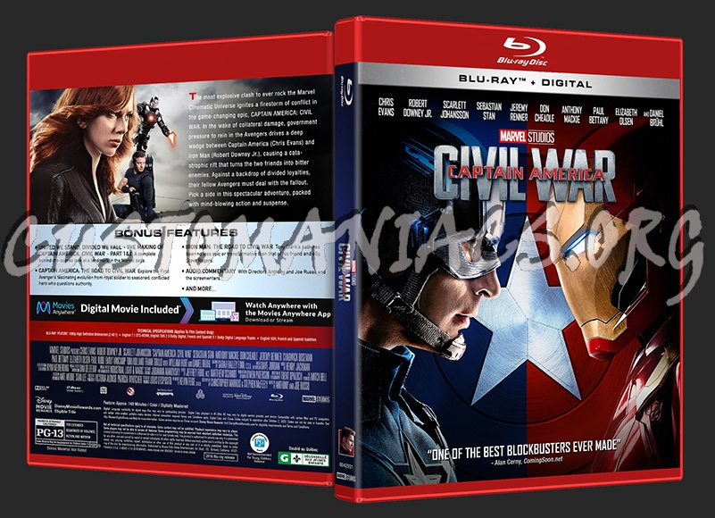 Captain America: Civil War (2D/3D/4K) blu-ray cover