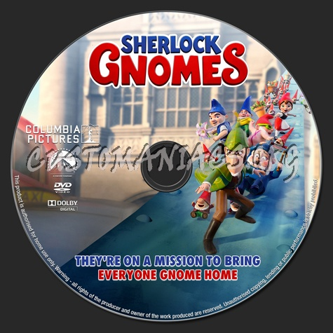 sherlock gnomes (2018) dvd label dvd covers & labels by