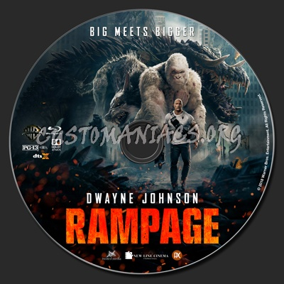 Rampage (2018) 2D & 3D blu-ray label