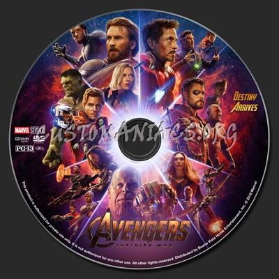 Avengers: Infinity War dvd label