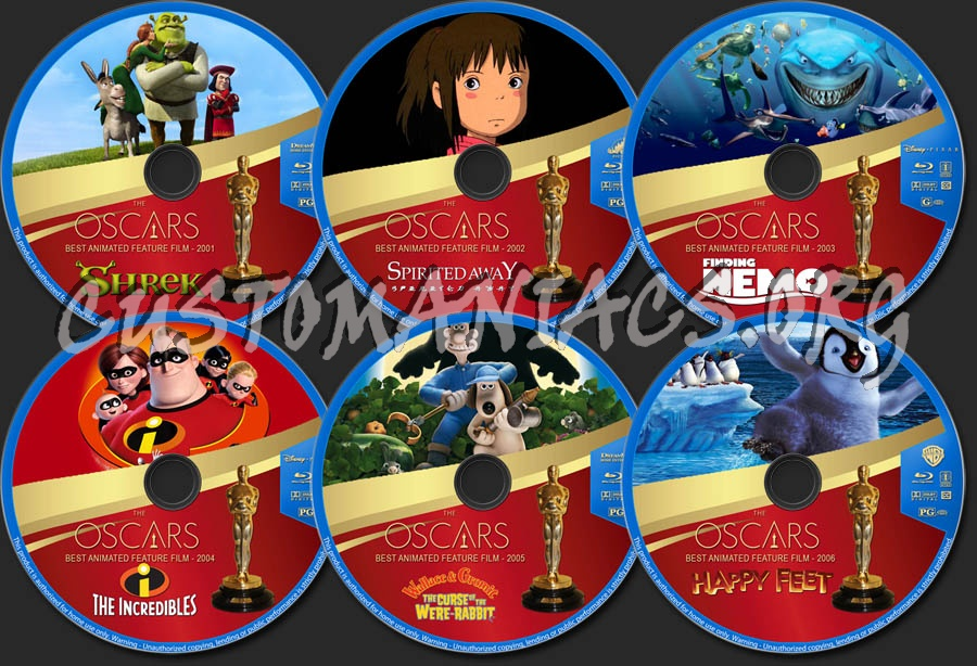 The Oscars: Best Animated Feature Film - Volume 1 (2001-2006) blu-ray label