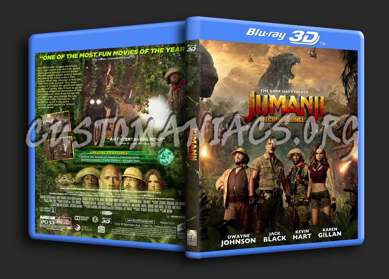 Jumanji: Welcome To The Jungle 3D blu-ray cover
