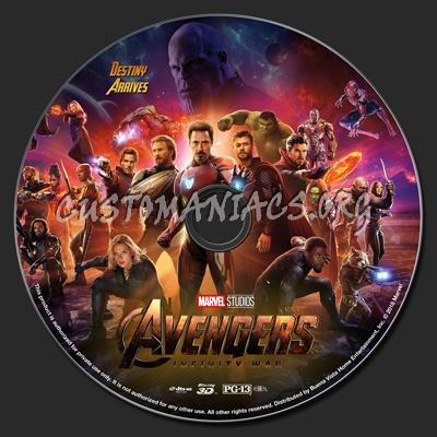 Avengers: Infinity War (2D & 3D) blu-ray label