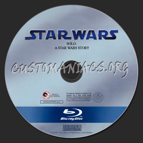 Solo: A Star Wars Story blu-ray label