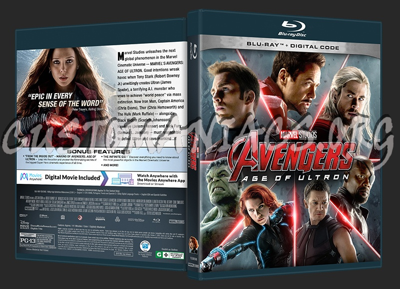 Avengers: Age of Ultron (2D/3D/4K) blu-ray cover