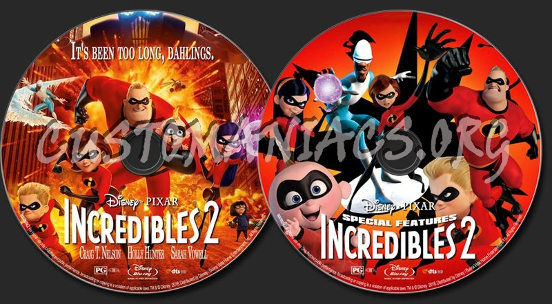 Incredibles 2 blu-ray label
