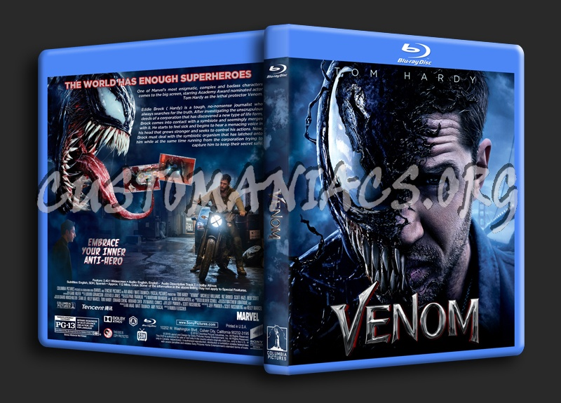 Venom (2018) blu-ray cover