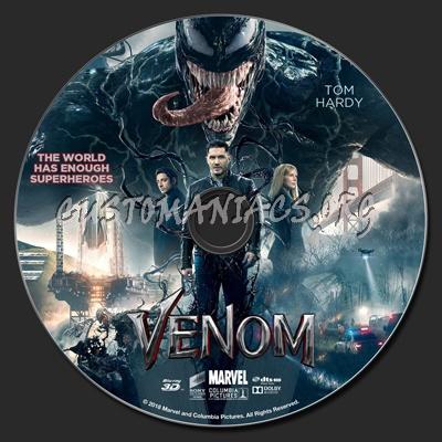 Venom (2018) 2D & 3D blu-ray label