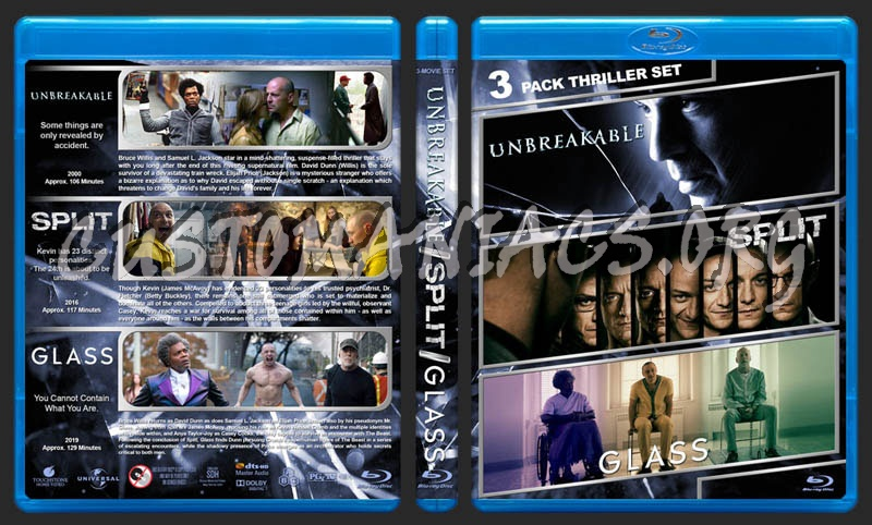 Unbreakable / Split / Glass Triple Feature blu-ray cover