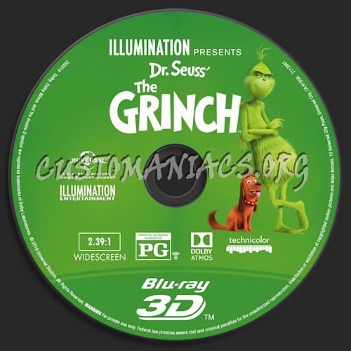 The Grinch (2018) Blu-ray + 3D & 4k blu-ray label blu-ray label